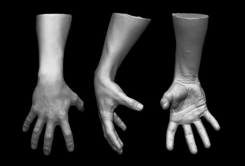 3D scans of actor Mark Ruffalo's arm used within the special FX for the Avengers movie. Image via Gentle Giant Studios.