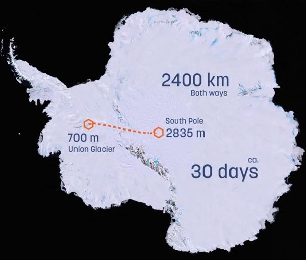 The journey map of the Solar Voyager, from Antarctica to the South Pole. Image via Clean2Antarctica