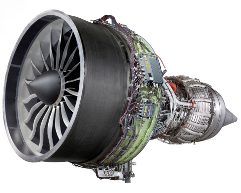 The GEnx-2B commercial airline engine used to power the Boeing 747-8 aircraft. Image via GE Additive.
