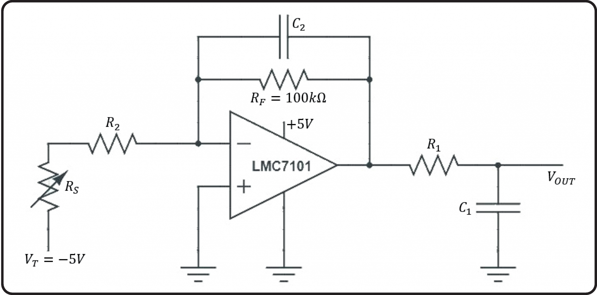 The amplifier setup configuration circuit for the pin sensor. Image via UCL.