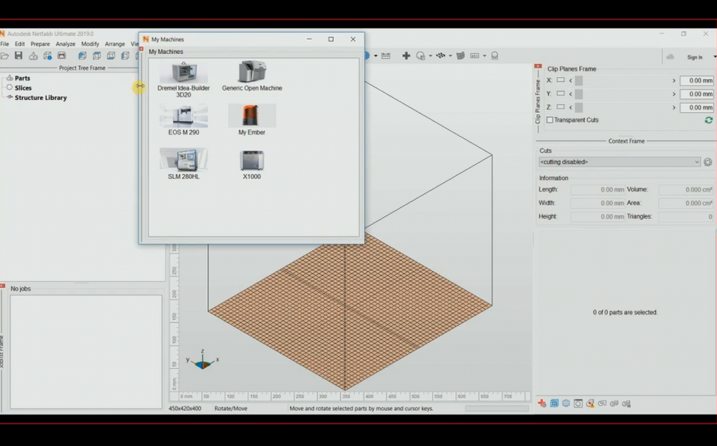 My Machine interface, Netfabb 2019. Image via Autodesk