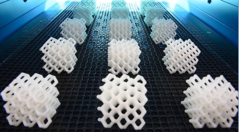 Mass 3D printed lattices from Origin. Clip via Origin.i