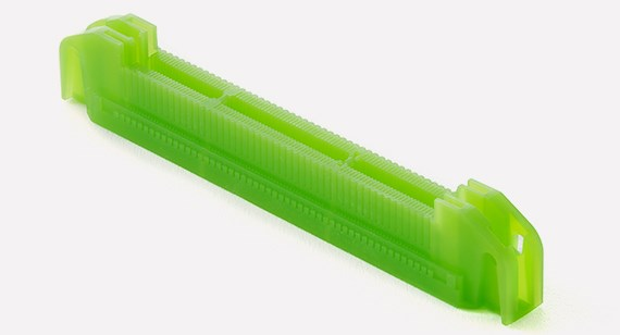 A MicroFine Green 3D printed part. Photo via Protolabs.