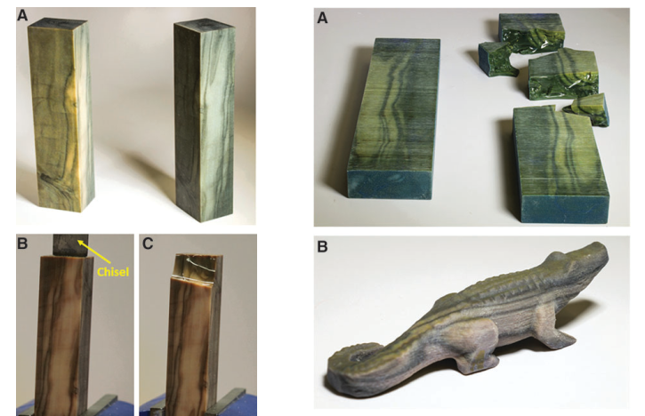 Various examples of 3D printed digital wood. Image via Mary Ann Liebert, Inc., publishers.