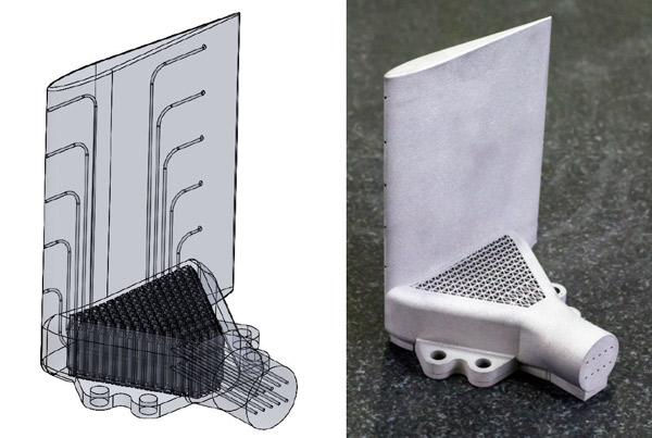 Sample aerospace-grade 3D printed part with conformal cooling channels. Image via Precision ADM