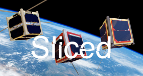 Featured image shows Slice logo over an artist's impression of Cubesats in orbit of the earth. Photo via ESA/Medialab