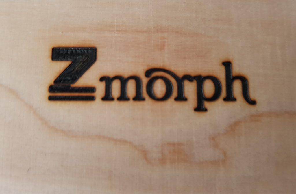 ZMorph logo laser engraving.