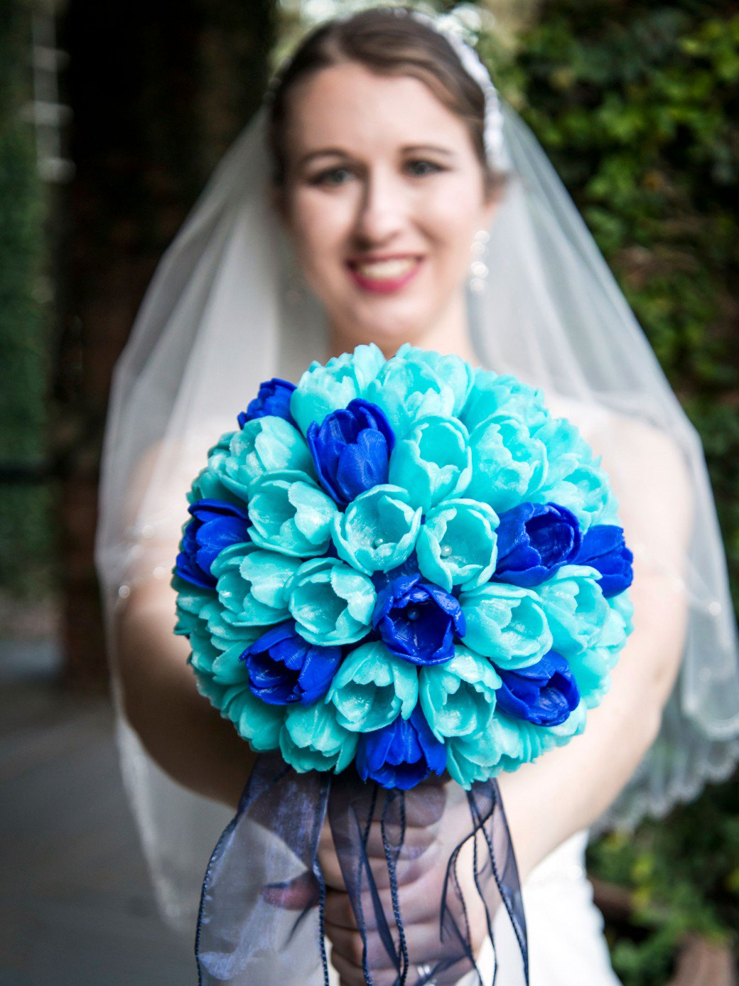 Erin Winick's 3D printed wedding bouquet. Photo courtesy of Mark Pariani