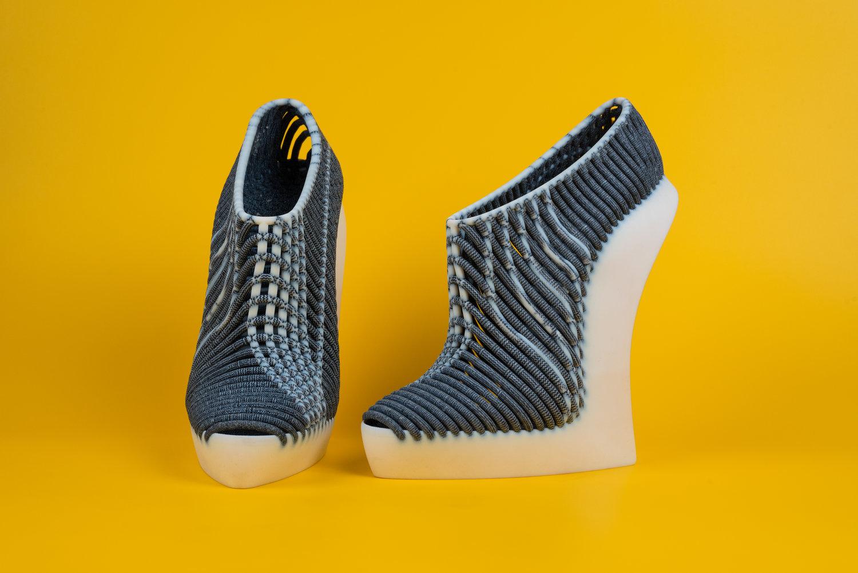 A 3D printed woven shoe by Ganit Goldstein. Image via Ganit Goldstein