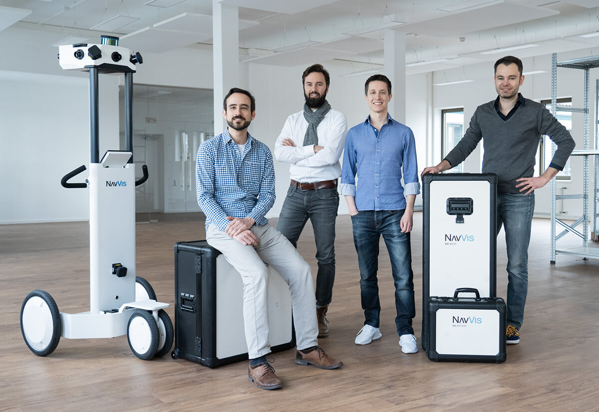 NavVis founders (L-R): Robert Huitl, Sebastian Hilsenbeck, Felix Reinshagen, and Georg Schroth. Photo via NavVis.