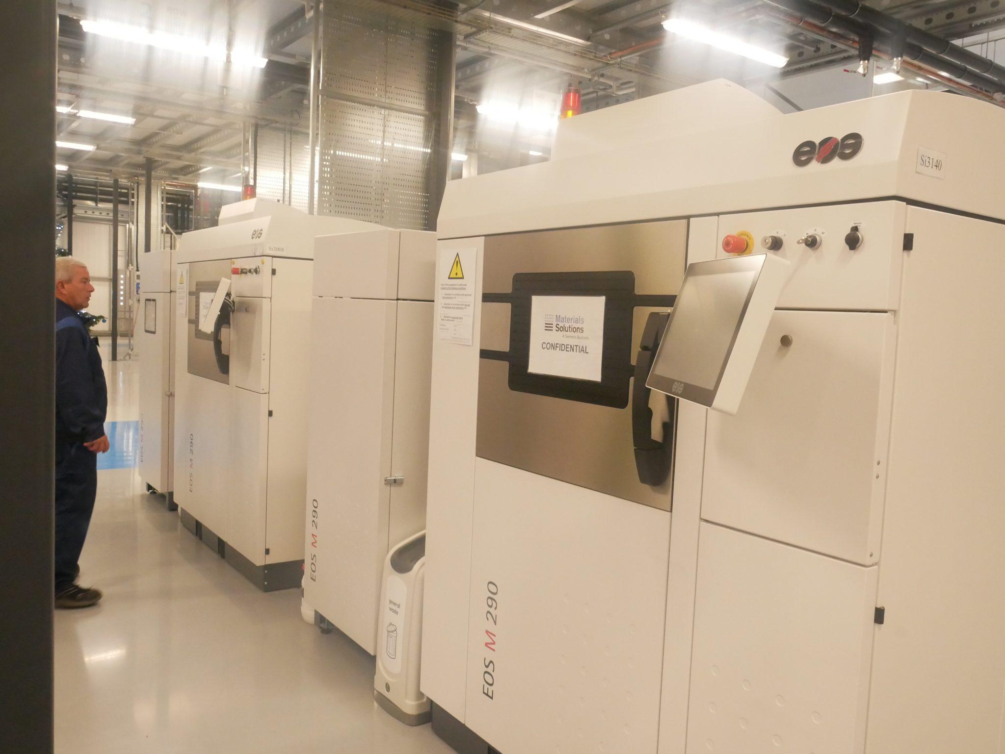EOS 3D printers at the Materials Solutions Digital Factory. Photo by Tia Vialva.