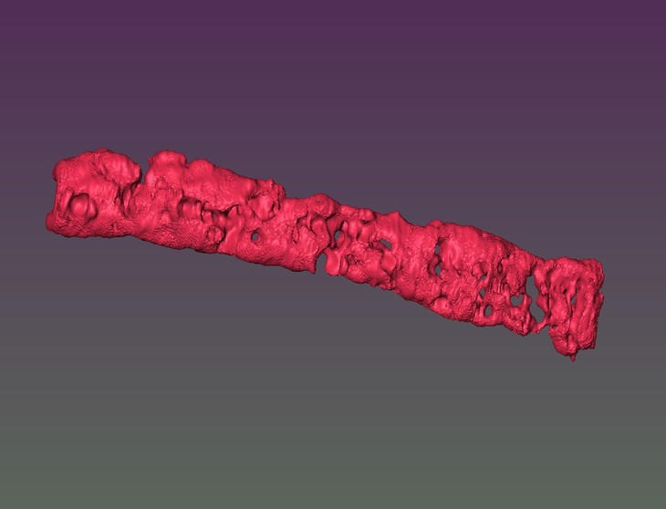 Reconstructed 3D image of porous tissue strand using magnetic resonance imaging. Image via Ozbolat laboratory/Penn State.