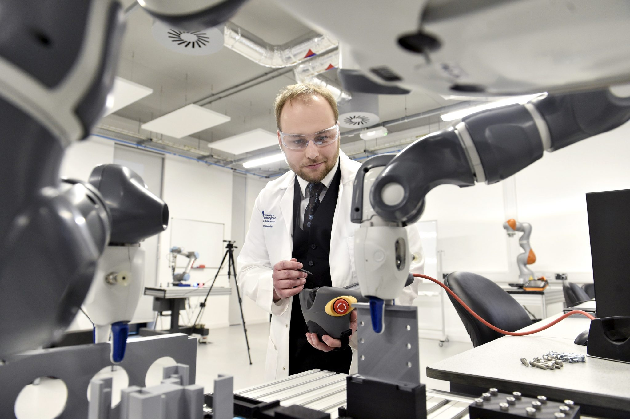 Researcher in the Nottingham Advanced Robotics Laboratory. Photo via the University of Nottingham.