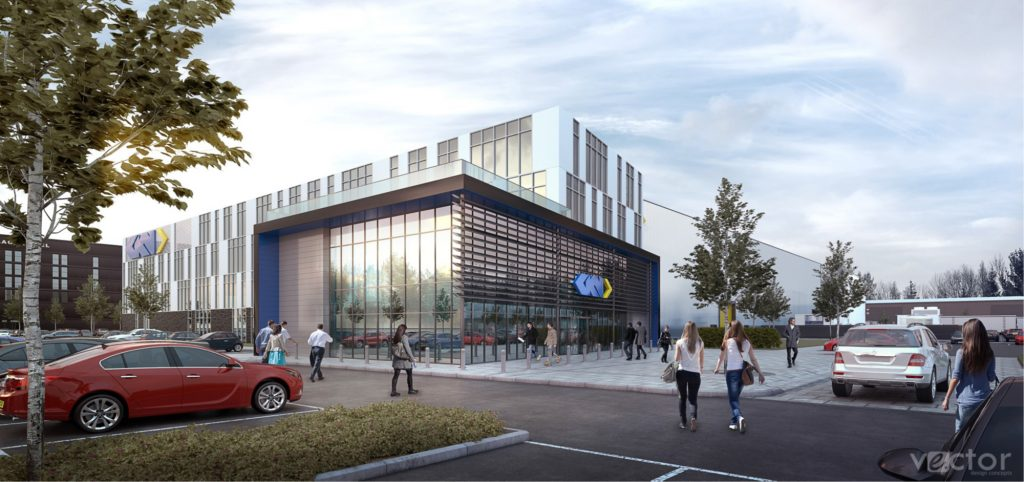 Digital render of the forthcoming Global Technology Center. Image via GKN Aerospace