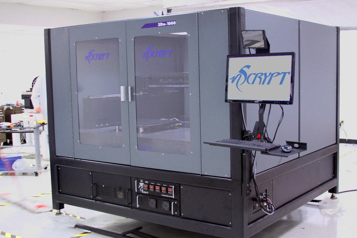 The 3Dn-1000 machine during final inspection before shipping. Photo via nScrypt.