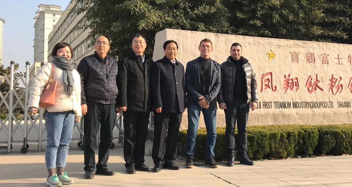 Lasting Titanium's Gloria Wang, Cai Longyang, Zheng Xiaofeng, Wang Qi Lu, and Titomic's Jeff Lang & Vahram Papyan. Photo via Titomic.