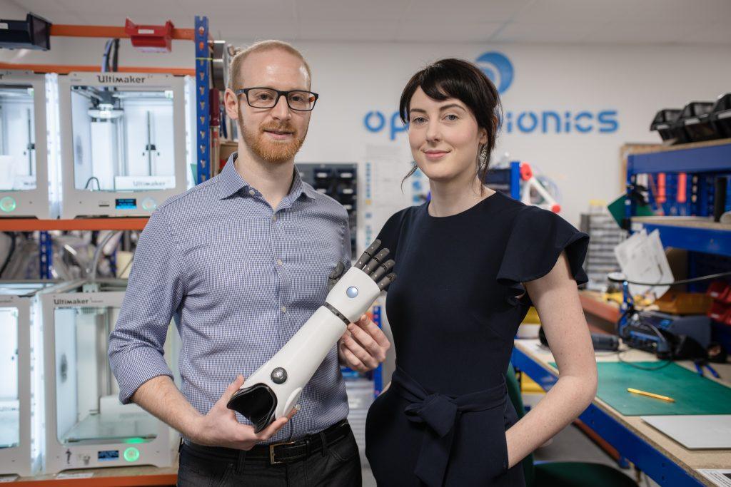 Open Bionics co-founders Joel Gibbard and Samantha Payne. Photo by Jon Atiken