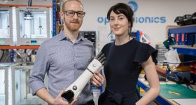 Open Bionics co-founders Joel Gibbard and Samantha Payne. Photo by Jon Atiken