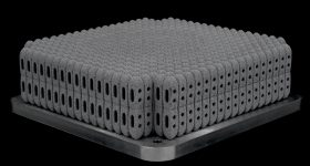 More than 800 posterior lumbar cages 3D printed using a Renishaw RenAM 500Q. Image via Betatype.