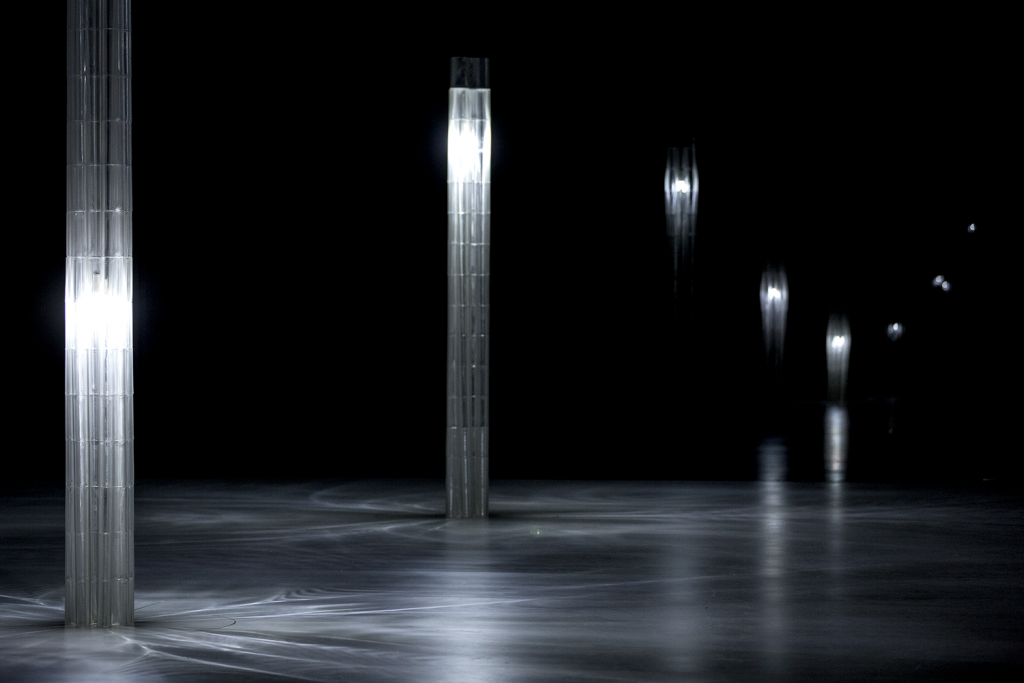 The Mediated Matter Group's 3m tall 3D printed glass columns at Milan Design Week 2017. Photo via Mediated Matter Group