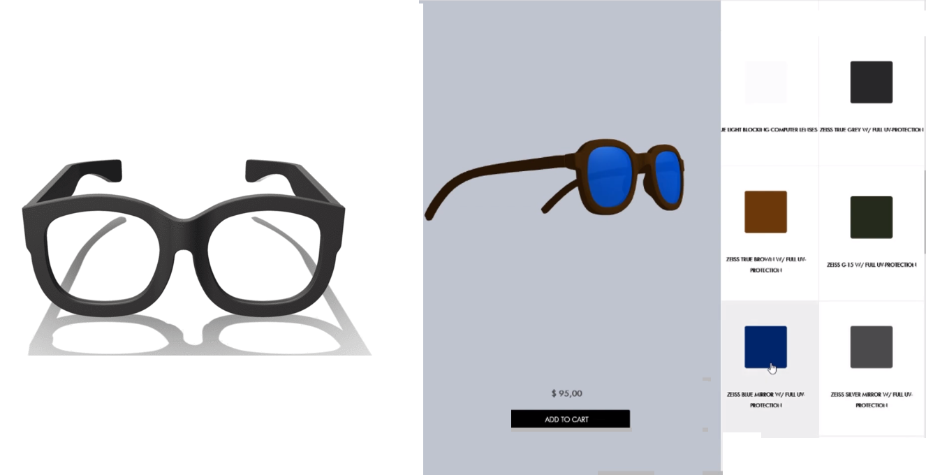 Left: Model 02 3D printed glasses by American Spectacles. Right: Customization interface. Images via Amercan Spectacles.