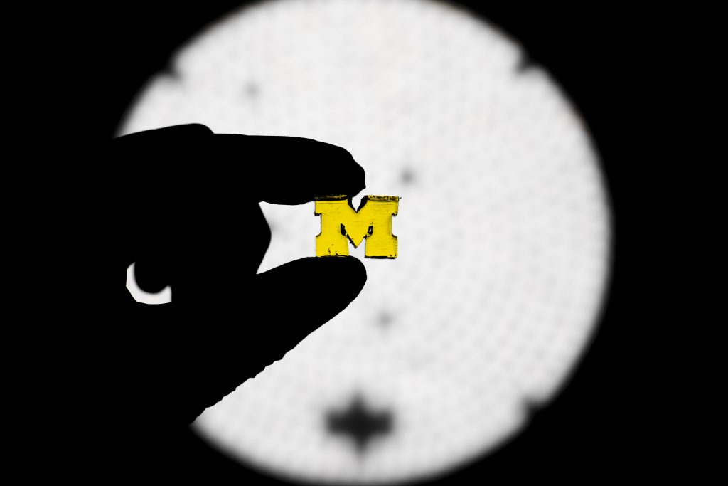 "A University of Michigan ""M"" 3D printed by the new high speed fabrication technique. Photo by Evan Dougherty/Michigan Engineering"