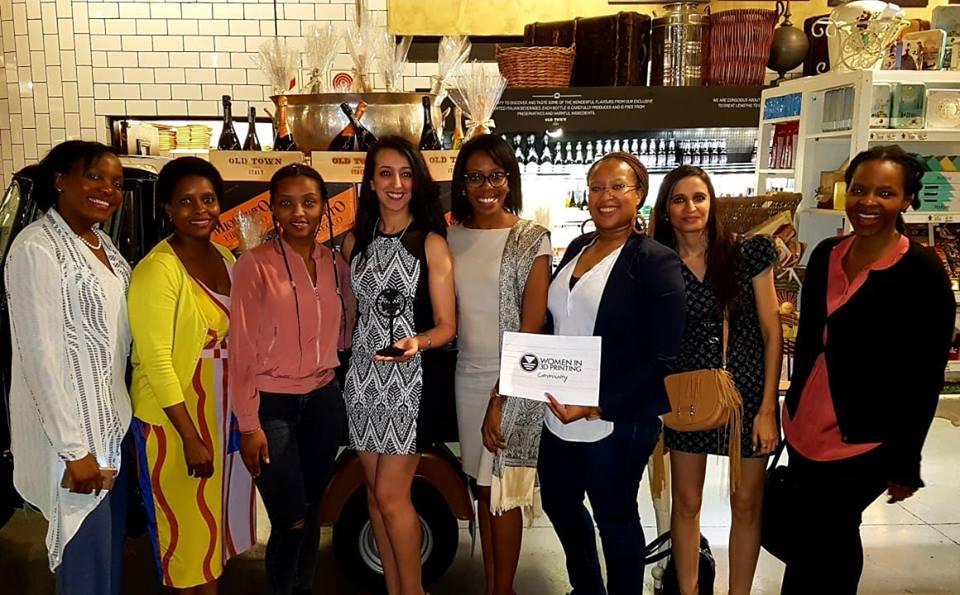Malika Khodja (center left) managing director at TiziriTech host the Women in 3D Printing South Africa meetup. Photo via TiziriTech