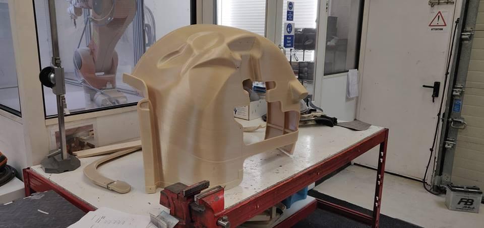 A large composite fiber mold 3D printed on the Stratasys F900mc. Photo via Dash-CAE