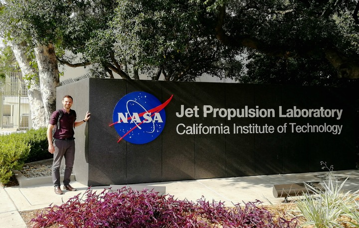 Mark Cocking, of the University of Sheffield's Advanced Manufacturing Research Centre (AMRC) visits the NASA Jet Propulsion Laboratory in Pasadena, California. Photo via AMRC