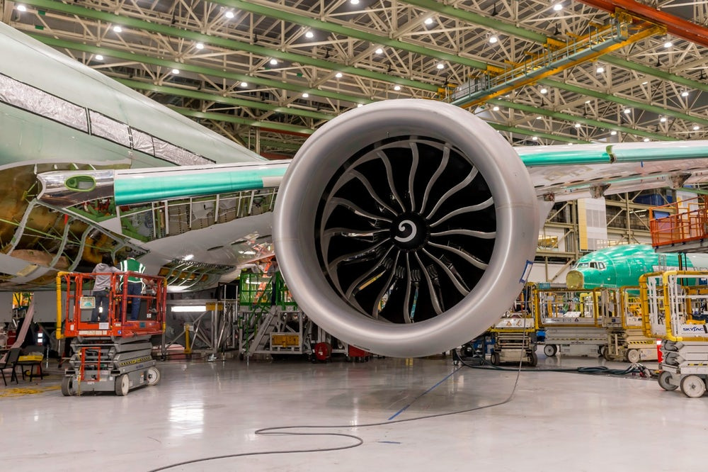 The Boeing 777X jet and GE9x engine. Photo via Boeing