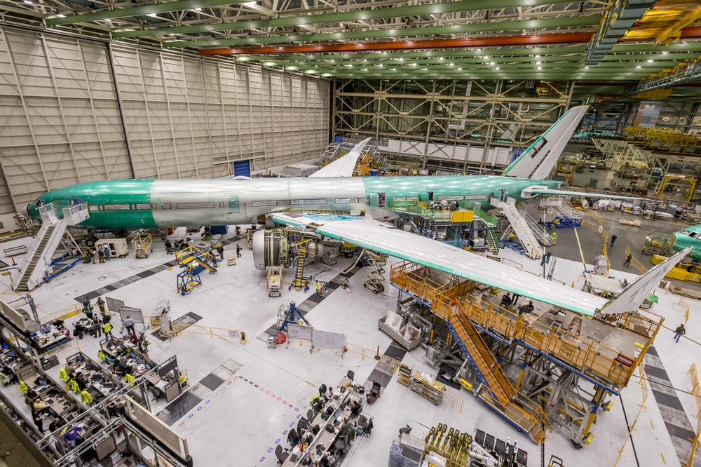 The assembled prototype Boeing 777X plane. Photo via Boeing
