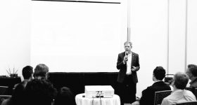 The Barnes Group Advisors Managing Director John Barnes speaking at SLM Solutions North America. Photo via The Barnes Group Advisors