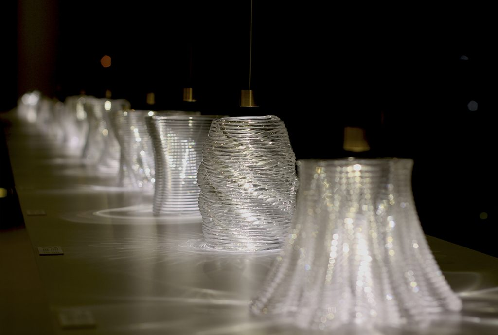 "Glass ""lamps"" made in the first stage of MIT's glass 3D printing project (G3DP/GLASS I) Photo via Mediated Matter Group"