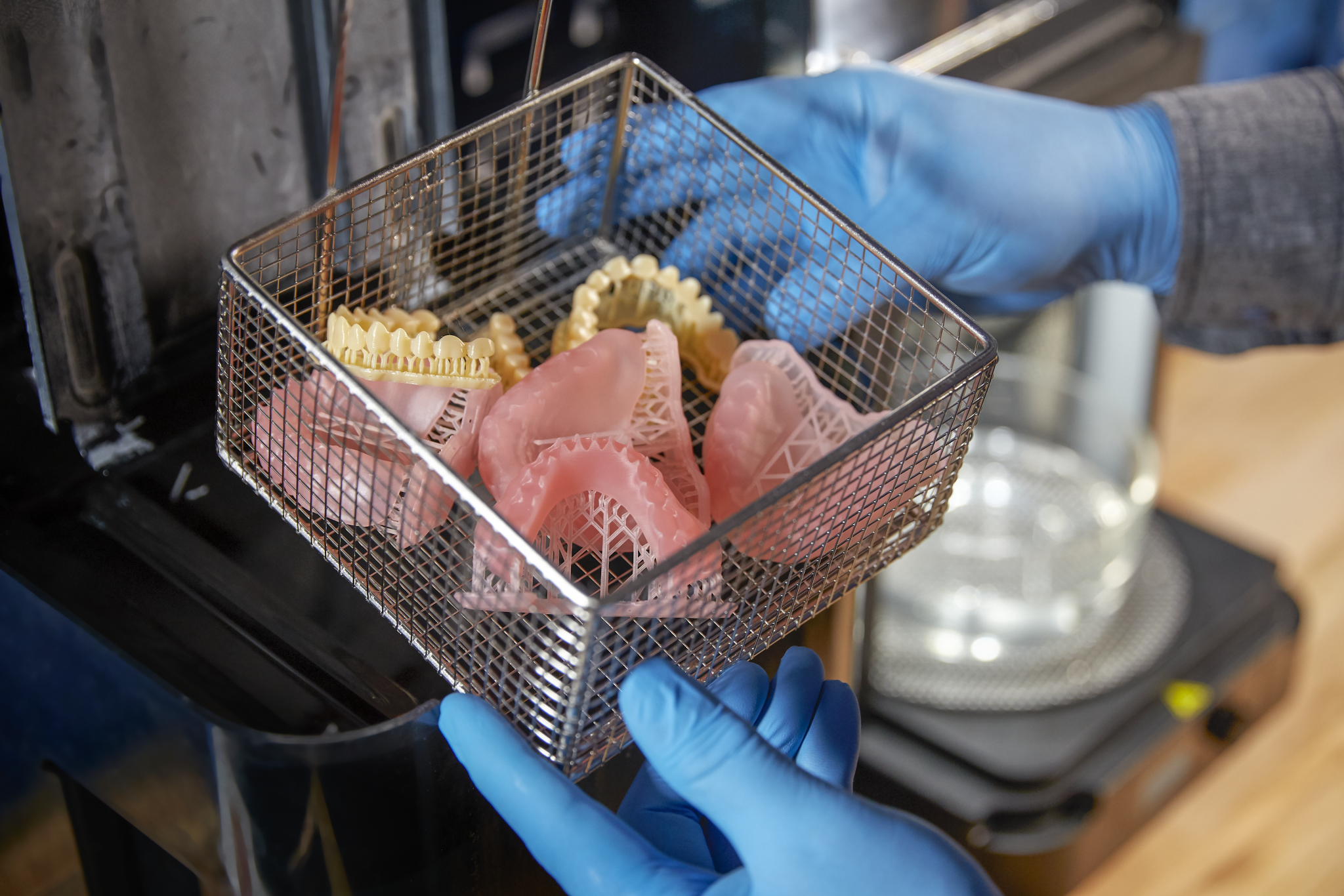 3D printed dental prosthetics from the Digital Denture resin. Photo via Formlabs.