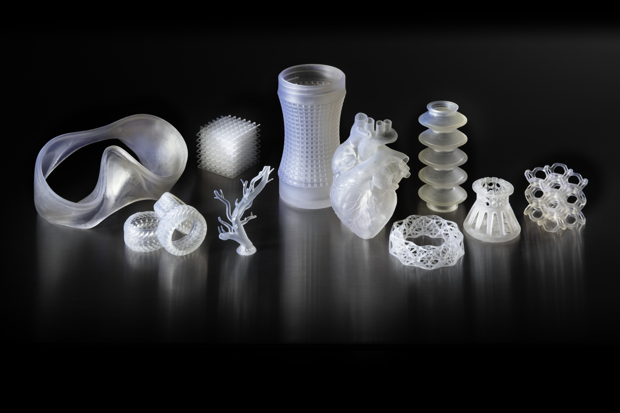 3D printed parts from Elastic Resin. Photo via Formlabs.