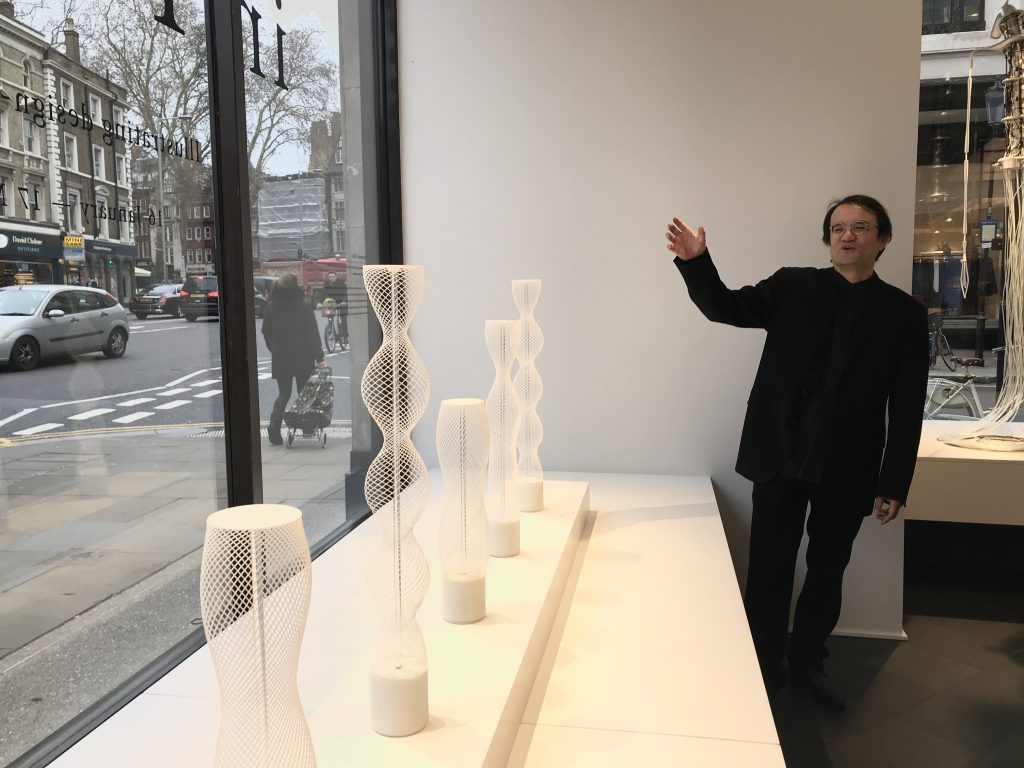 Professor Yamanaka Shunji gestures the window of Parametric Tubes for Prototyping in Tokyo at Japan House London. Photo by Beau Jackson