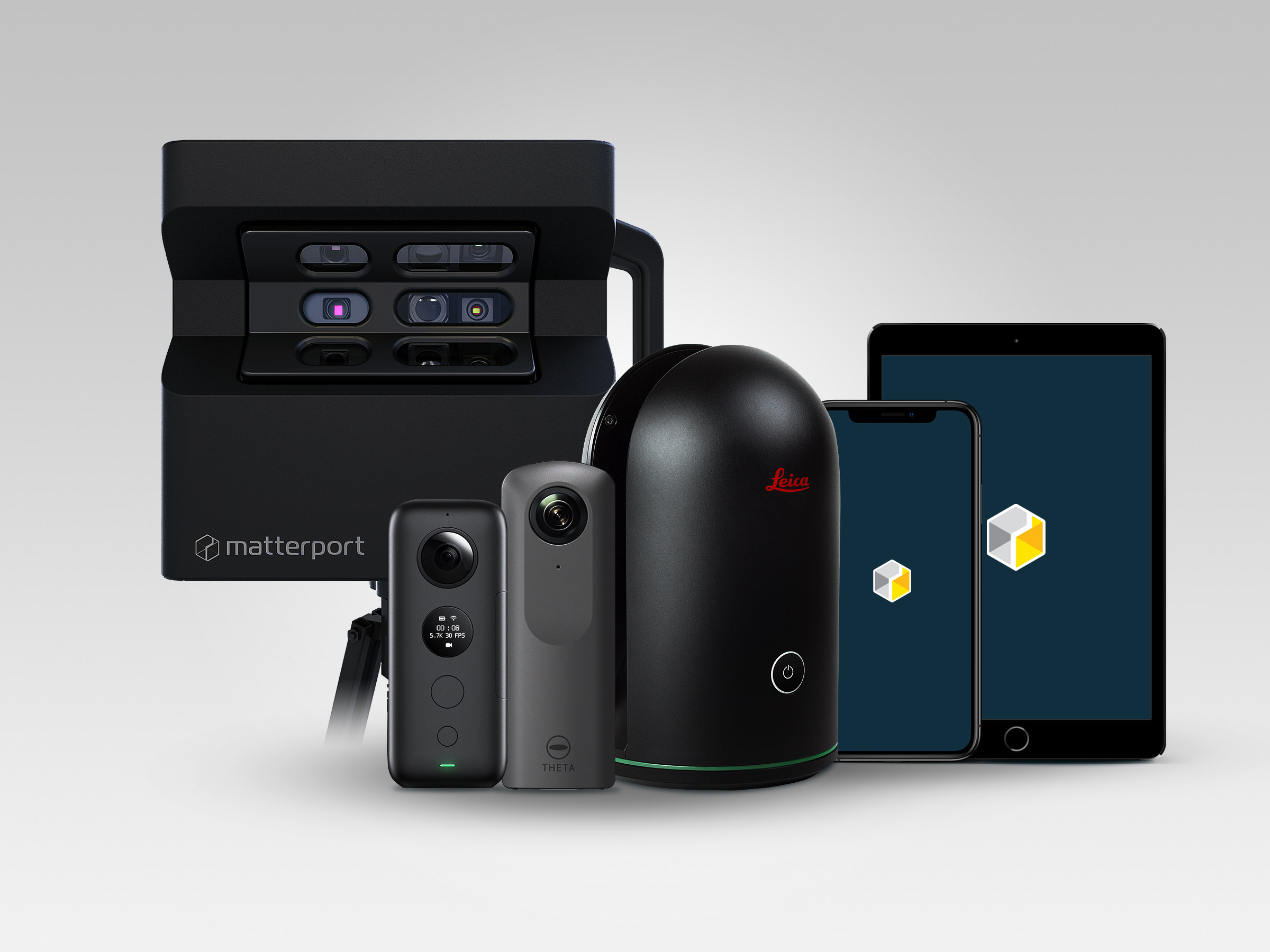 From left to right: Matterport's Flagship Pro2 camera; compatible third-party spherical lens (360-degree) cameras Insta360 ONE X and Ricoh Theta V; Leica Geosystems' BLK360 laser scanner; iPhone and iPad showcasing Matterport Cloud 3.0 compatibility with all iOS devices. Image via Matterport.