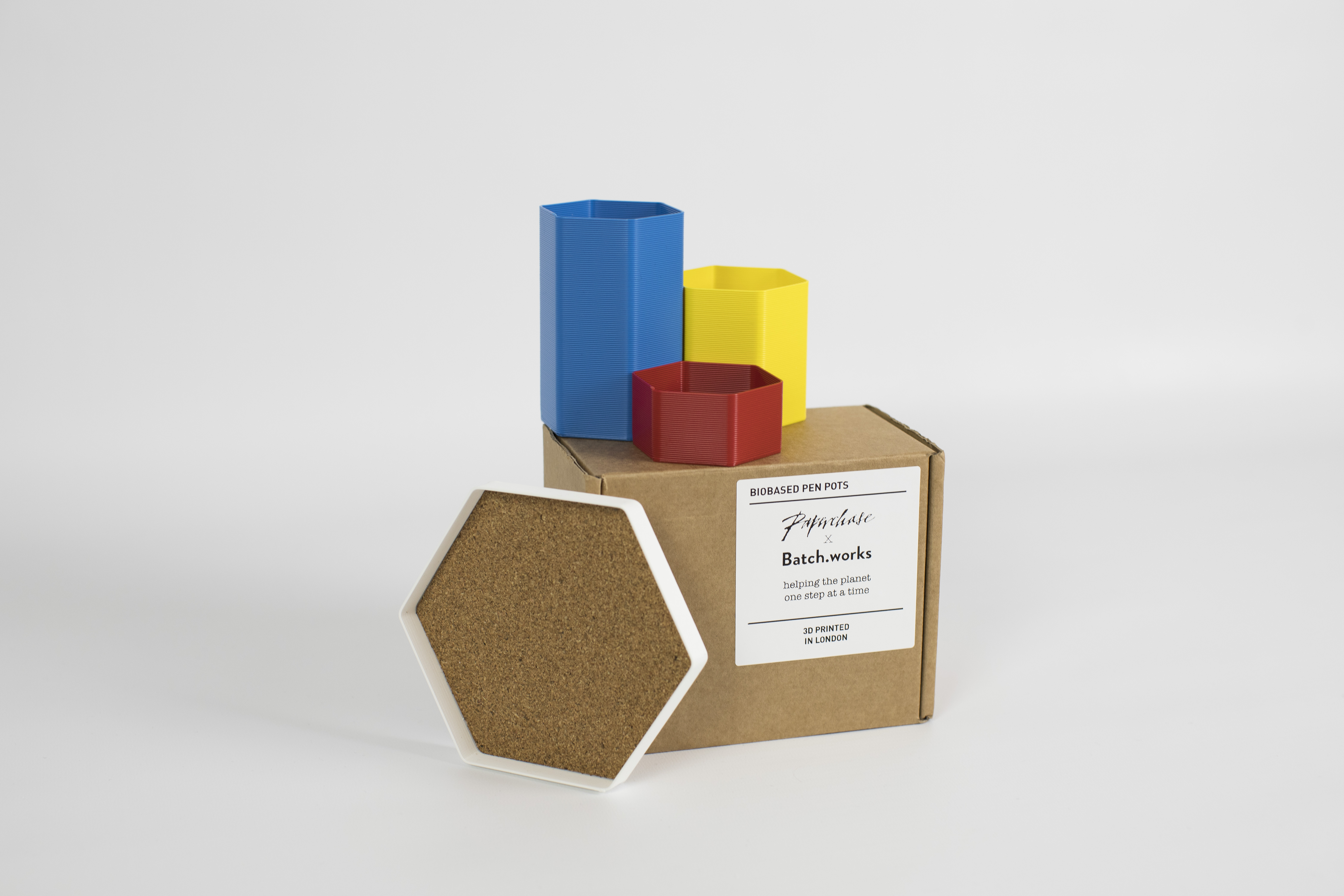 3D printed biodegradable pen pots. Photo via Batch.Works.