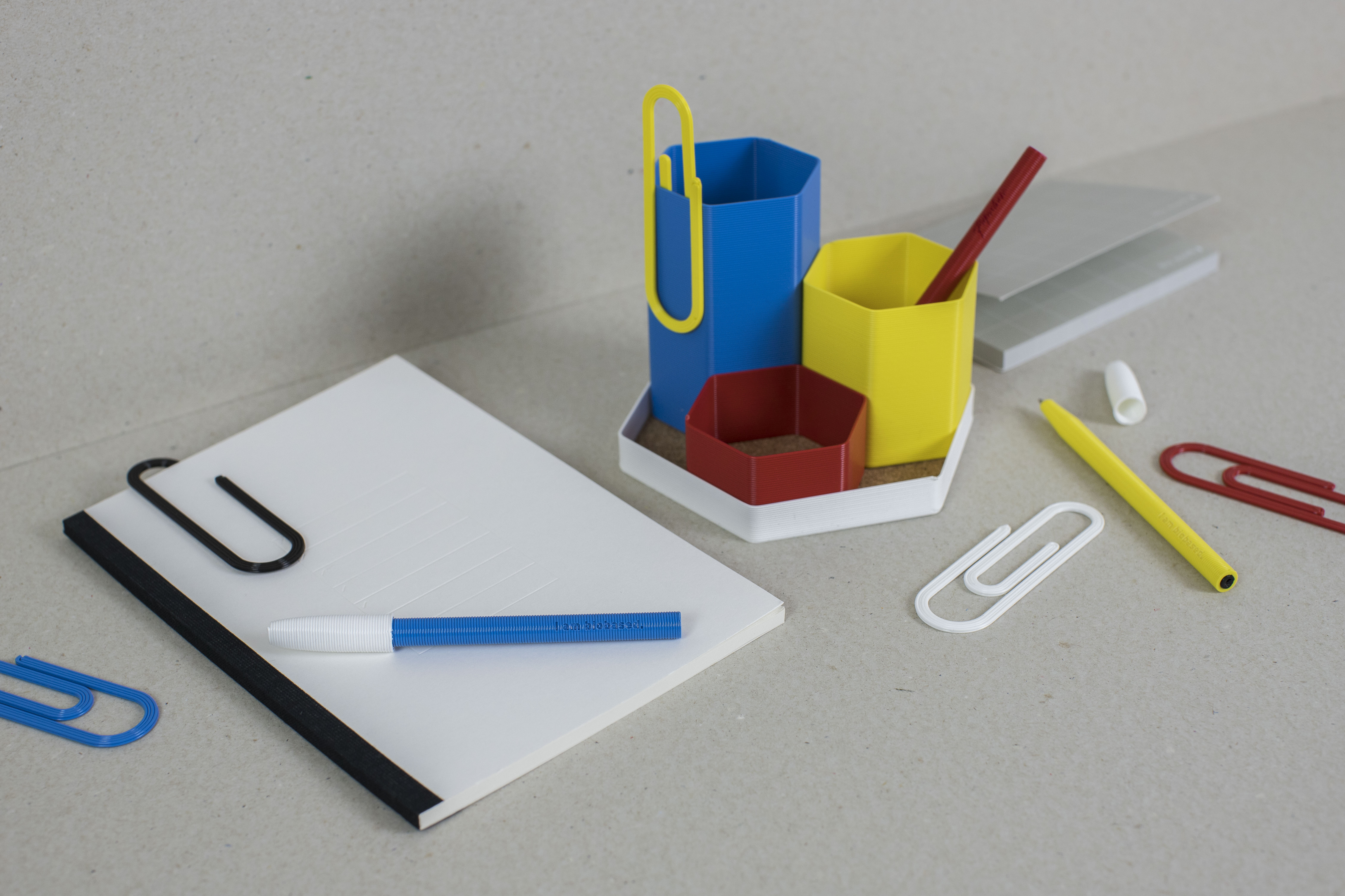 3D printed biodegradable stationary for Paperchase. Photo via Batch.Works.