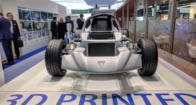SLM Solutions and Divergent 3D printed vehicle. Photo by Michael Petch.