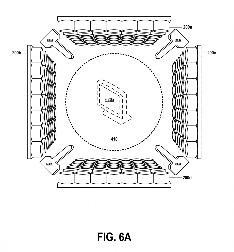 "Figure 6A from US patent no. US20180361680A1 showing ""an exemplary 3D printer, including sprayer nozzles, generating an acoustic hologram in accordance with embodiments of the present invention."" Image via Google Patents/IBM"