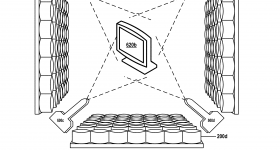 """Figure 6B from US patent no. US20180361680A1. Shows the """"printing a 3D object by spraying material onto the surface of an acoustic hologram."""" Image via Google Patents/IBM"""