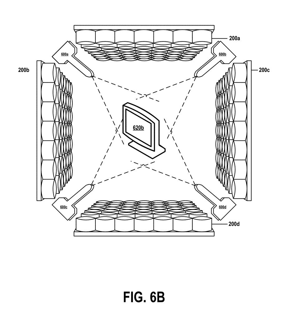 "Figure 6B from US patent no. US20180361680A1. Shows the ""printing a 3D object by spraying material onto the surface of an acoustic hologram."" Image via Google Patents/IBM"