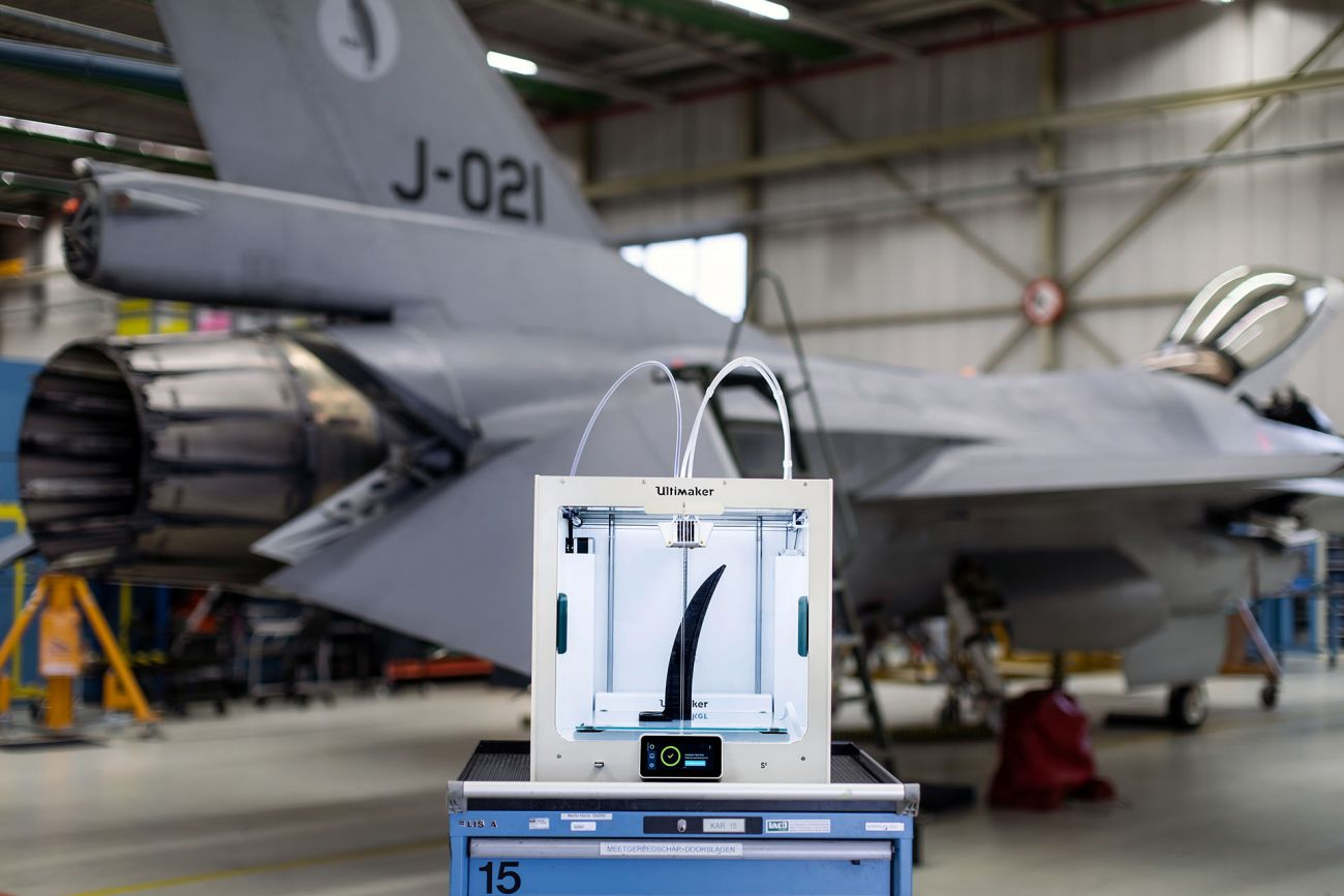 The Ultimaker S5 at Royal Netherland Air Force's Woensdrecht Air Base. Image via Ultimaker.