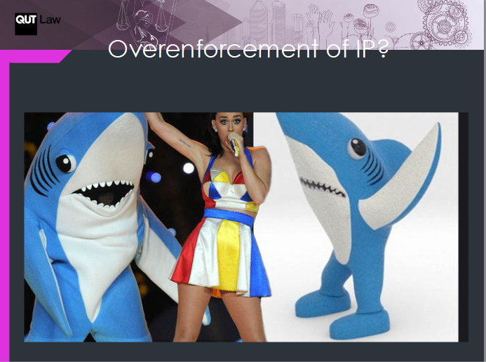 "Katy Perry's ""Left Shark"" and its supporting 3D print created by Fernando Sosa is given as an example of overenforcement of IP - after seeing Sosa's designs profiting from the likeness, Perry's legal team attempted to copyright the character only to be denied for lack of clarity of the brand. Image via IPO 3DPIP Futures PPT presentation"