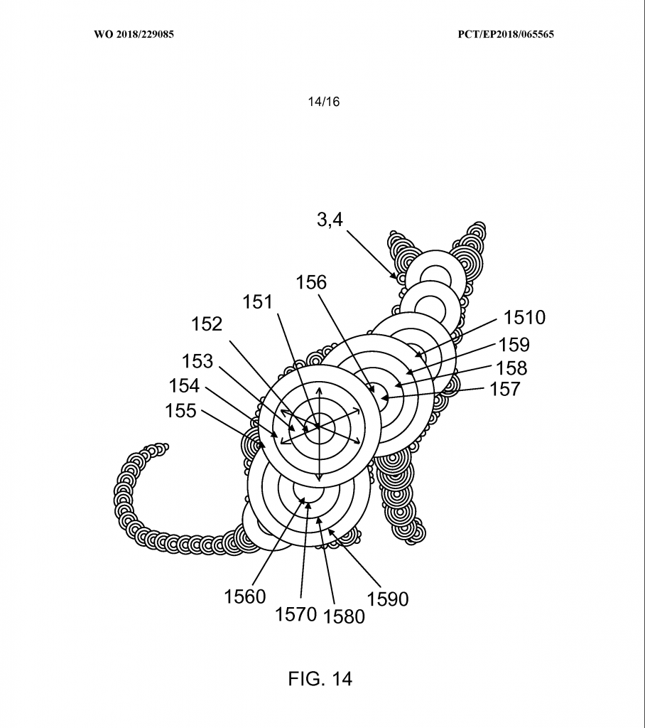 A cat model broken down into the respective spherical volumes required for fabrication using the method of volumetric 3D printing. Image via WIPO
