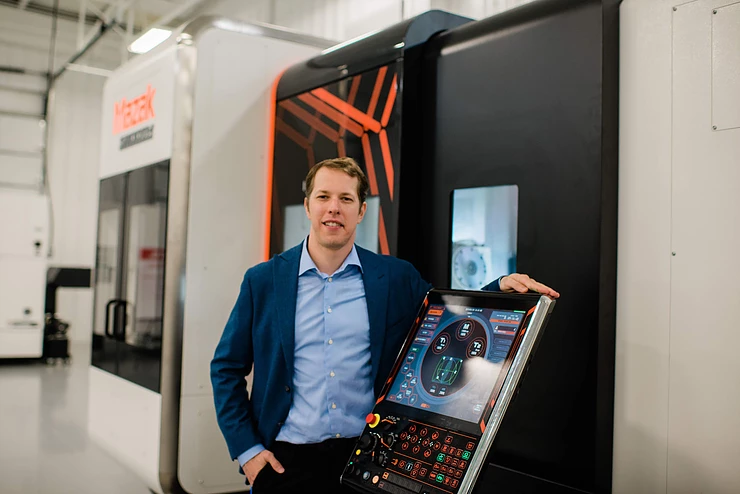 Keselowski Advanced Manufacturing founder, Brad Keselowski, with a Mazak hybrid multi-tasking machine. Photo via KAM.