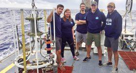 From left: Grady Bolan, Allison Redington, Associate Professor Stephen Licht, Sean Nagle and Josh Allder on the deck of the Okeanos Explorer. Photo via Josh Allder/URI.