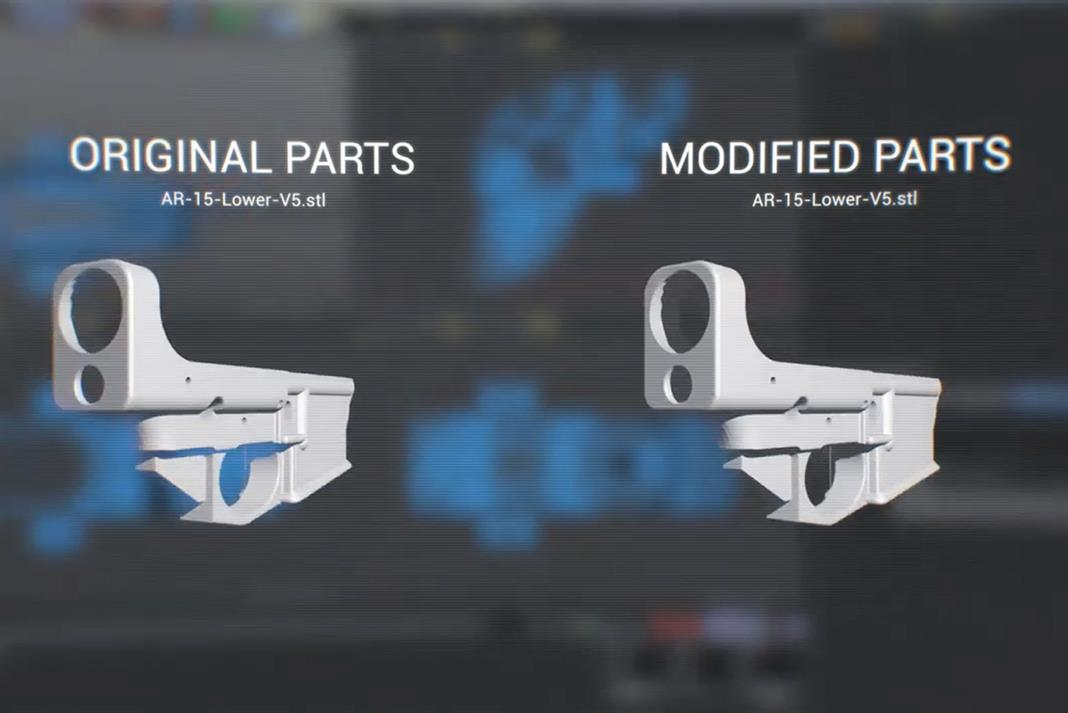 The original and modified 3D model of the 3D printable gun. Image via Campaign.