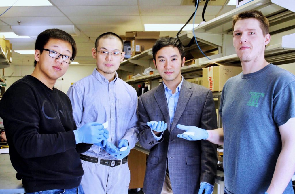 From left to right: Huachen Cui, Desheng Yao, Xiaoyu (Rayne) Zheng and Ryan Hensleigh of the Virginia Tech research team. Photo via Virginia Tech